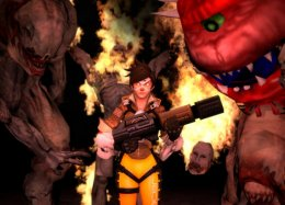 Мех D.Va добавили в Doom вместе с другим оружием из Overwatch. Получился OverDoom!