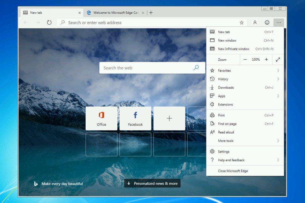 Браузер Microsoft Edge надвижке Chrome вышел для Windows 7и8 | Канобу - Изображение 0
