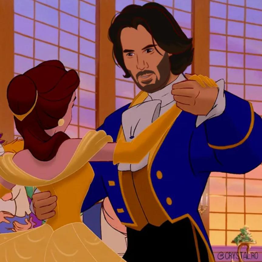 Киану Ривза нарисовали в образах Аладдина, Чудовища и других принцев из мультфильмов Disney  | Канобу - Изображение 6079