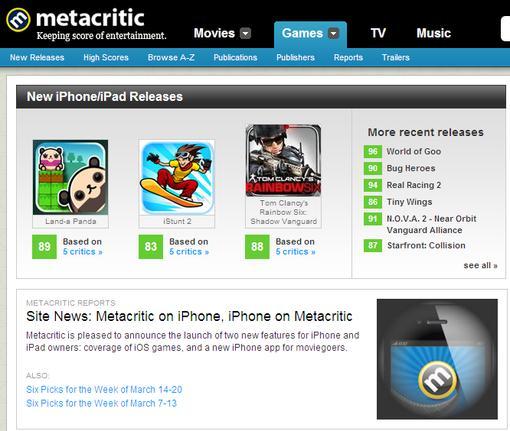 iOS и 3DS на Metacritic.com | Канобу