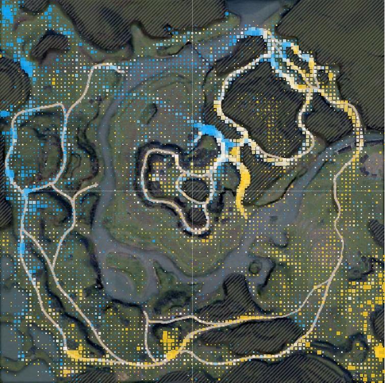 Пример тепловой карты graybox-версии «Жемчужной реки». Наней видны основные места расположения танков вовремя сражения.